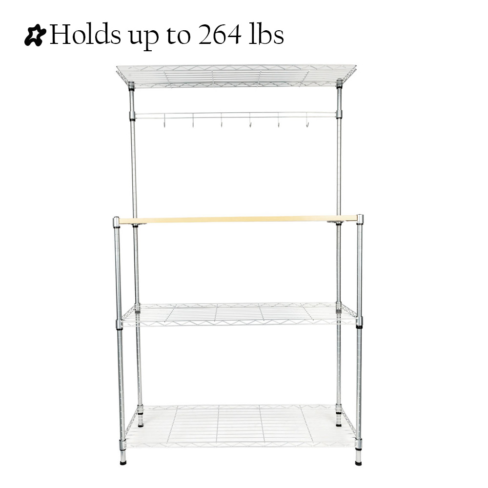 4 tier microwave cart segmart microwave carts on sale with hanging bar and 6 hooks adjustable height rustproof microwave stand baking rack holds up