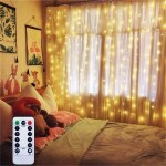 Battery Operated Curtain Window String Lights With Remote Timer Bedroom Garden D Fairy Curtain Light Icicle Waterfall Lights For Party Outdoor Indoor Warm White 6 5 X 6 5ft Dimmable Walmart Canada