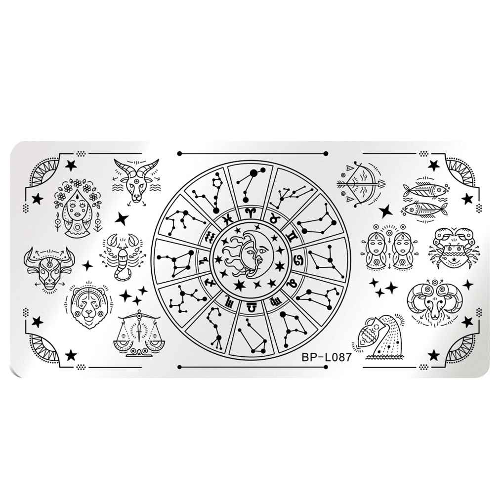 12x6cm Rectangle Nail Stamping Plates Template Beautiful Design