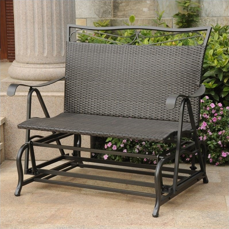 pemberly row patio glider loveseat in antique black