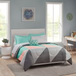 Mainstays Grey Teal 8 Pc Bed In A Bag Bedding Set With Sheet Set Queen Walmart Com Walmart Com