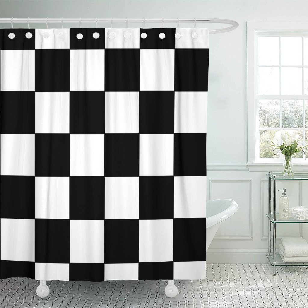 pknmt checker black and white racing checkered pattern flag board shower curtain 60x72 inches
