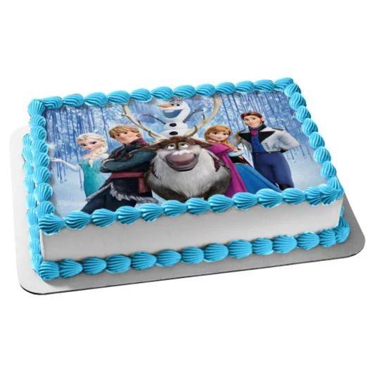 Disney Frozen Anna Elsa Olaf Sven Kristoff Waterfall Background Edible Cake Topper Image Abpid04829 Walmart Com Walmart Com