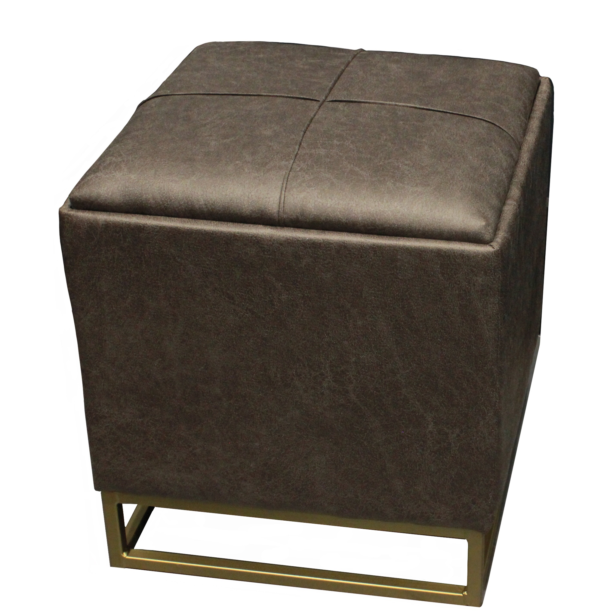 design guild faux leather ottoman footrest with storage compartment dark gray walmart com