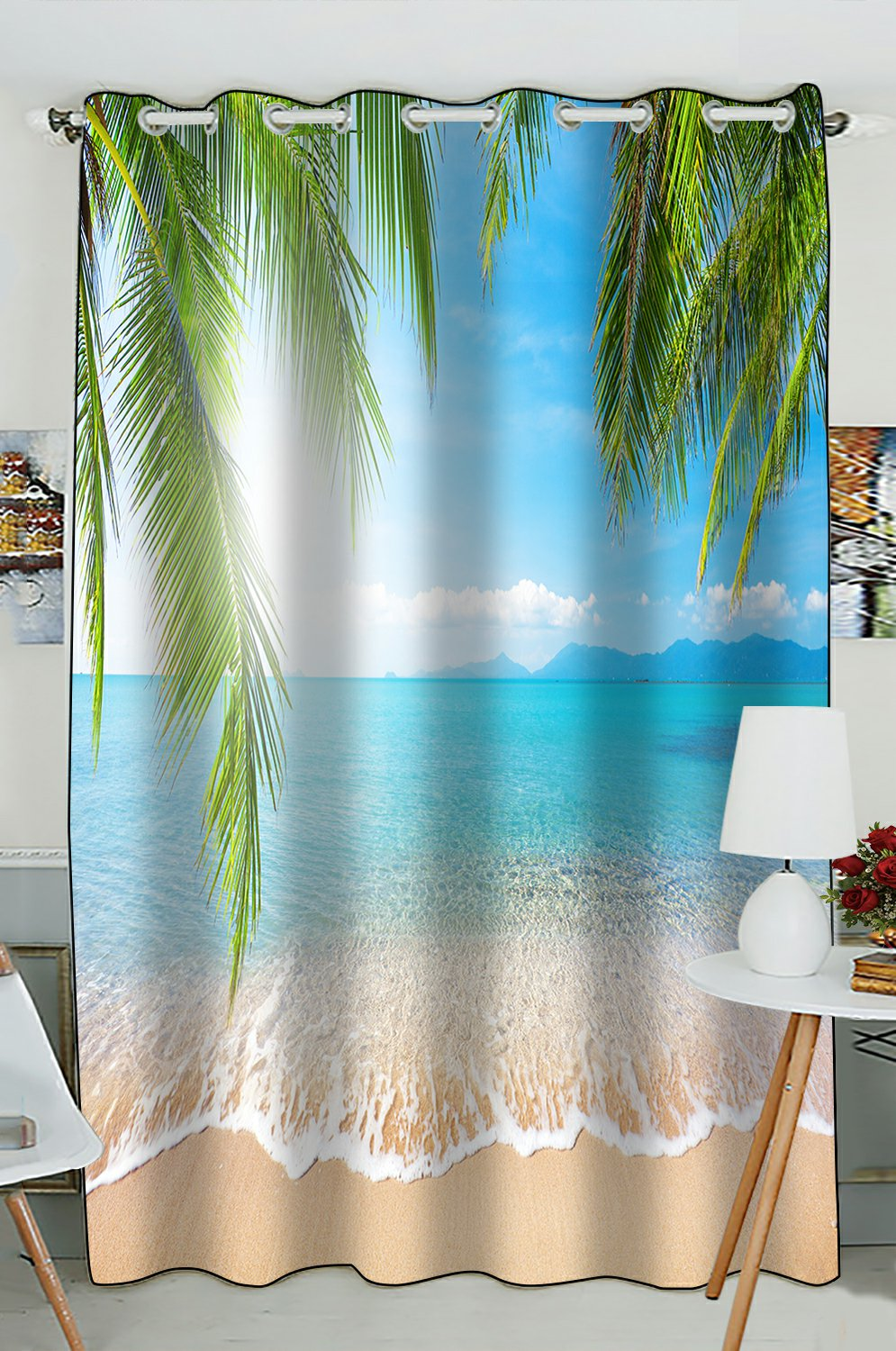 phfzk bule sea ocean window curtain tropical beach palm tree window curtain blackout curtain for bedroom living room kitchen room 52x84 inches one