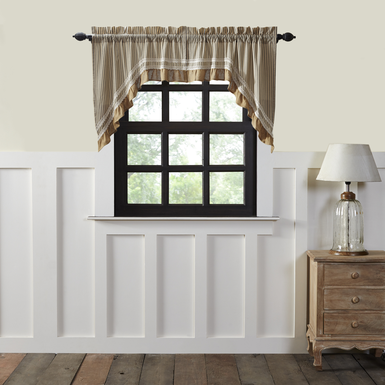 Creme Black White Farmhouse Kitchen Curtains Kendra Stripe Rod Pocket Cotton Lace Cotton Burlap