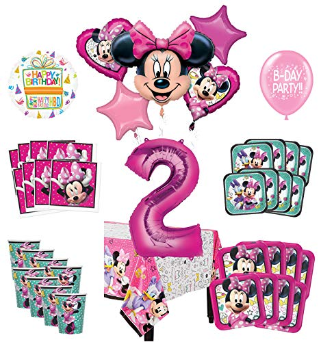 Mayflower Products Minnie Mouse 2nd Birthday Party Supplies And 8 Guest Balloon Decoration Kit Walmart Com Walmart Com