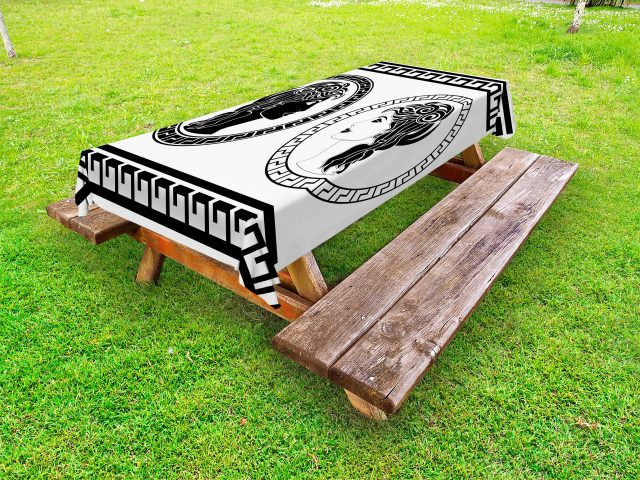 toga party outdoor tablecloth, roman aristocrat woman profiles circular classical frames hairstyle beauty, decorative washable fabric picnic table