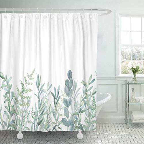 emvency fabric shower curtain curtains with hooks green eucalyptus watercolor floral pattern botanical artistic border botany bouquet branch christmas