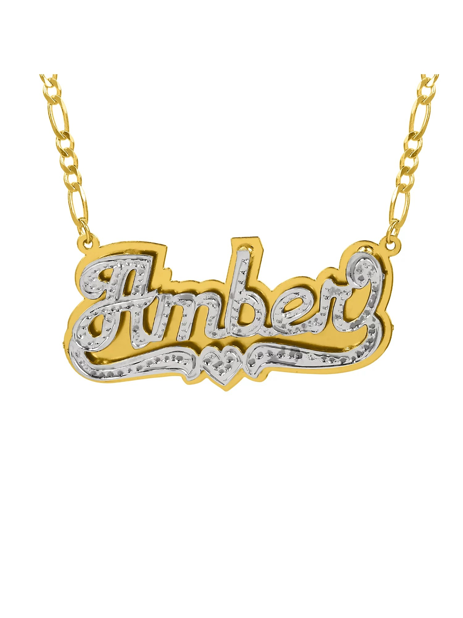 Personalized Sterling Silver or Gold Plated Double Nameplate Necklace with Beading and Rhodium, 18″ Silver Plated Figaro Chain