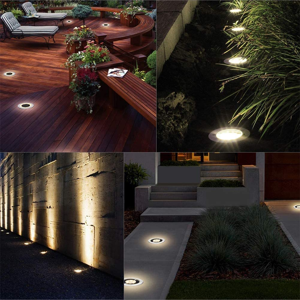 solar lights garden 8 led solar garden lights floor lights solar lights outside for lawn patio yard 12 pieces warm white