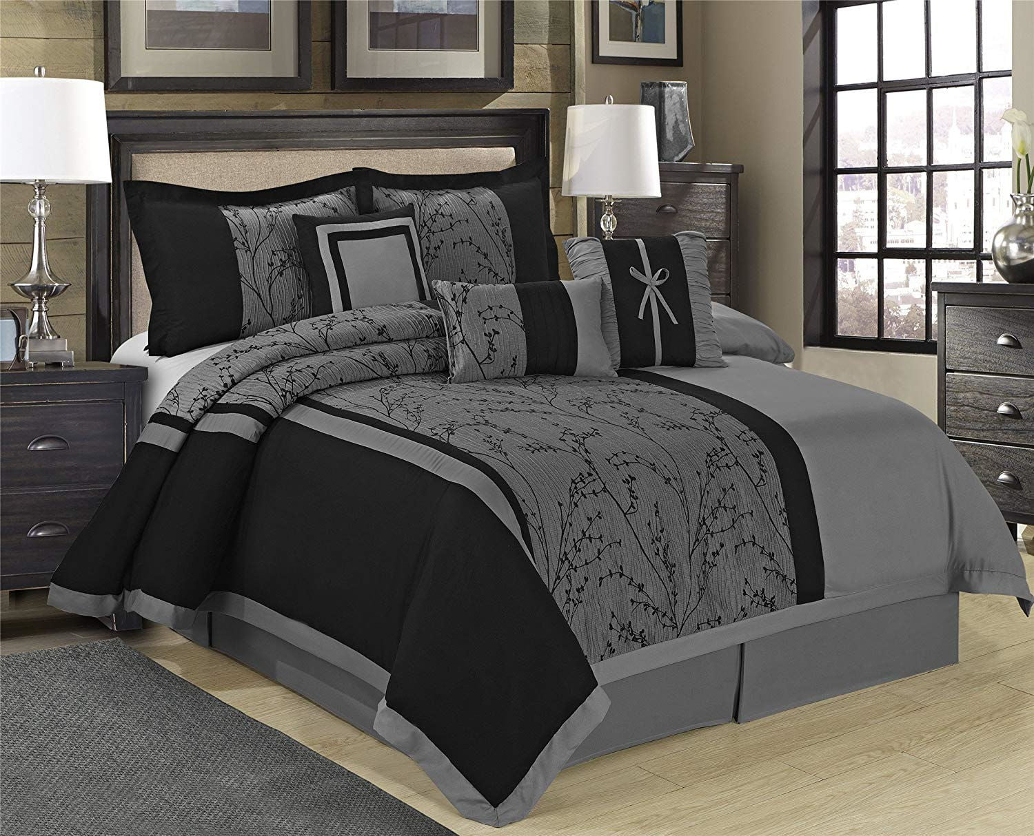 Unique Home Leticia Comforter 7 Piece Bed In A Bag Ruffled