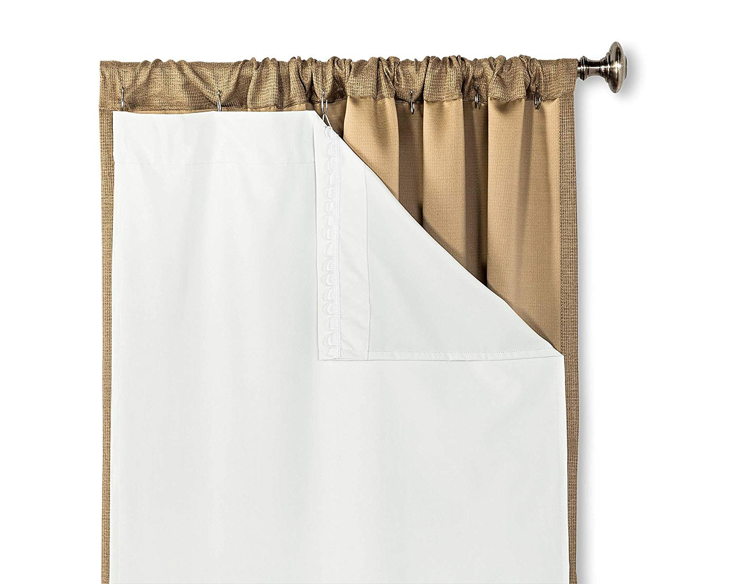 hlc me white thermal 100 blackout curtain rod pocket liner for complete darkness energy efficiency privacy