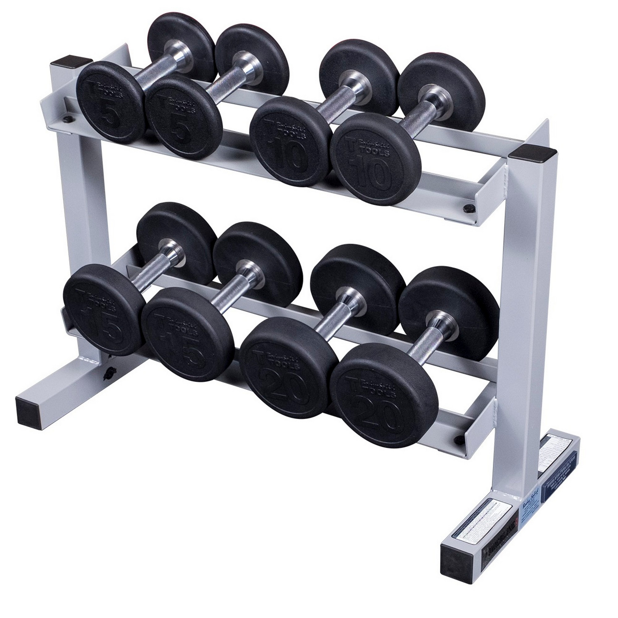 powerline pdr282x dp100 dumbbell rack with 5 20 lbs premium rubber dumbbell set