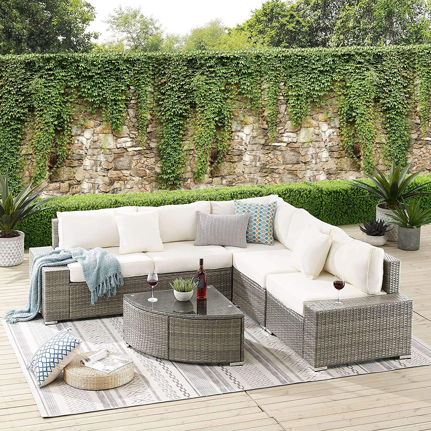 tribesigns 6 pieces outdoor patio furniture set large wicker sectional sofa set patio conversation set rattan couch with cushions and glass table for