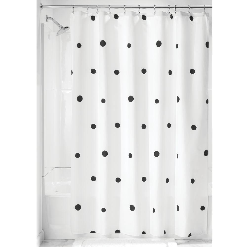 idesign scattered dot fabric shower curtain black and white