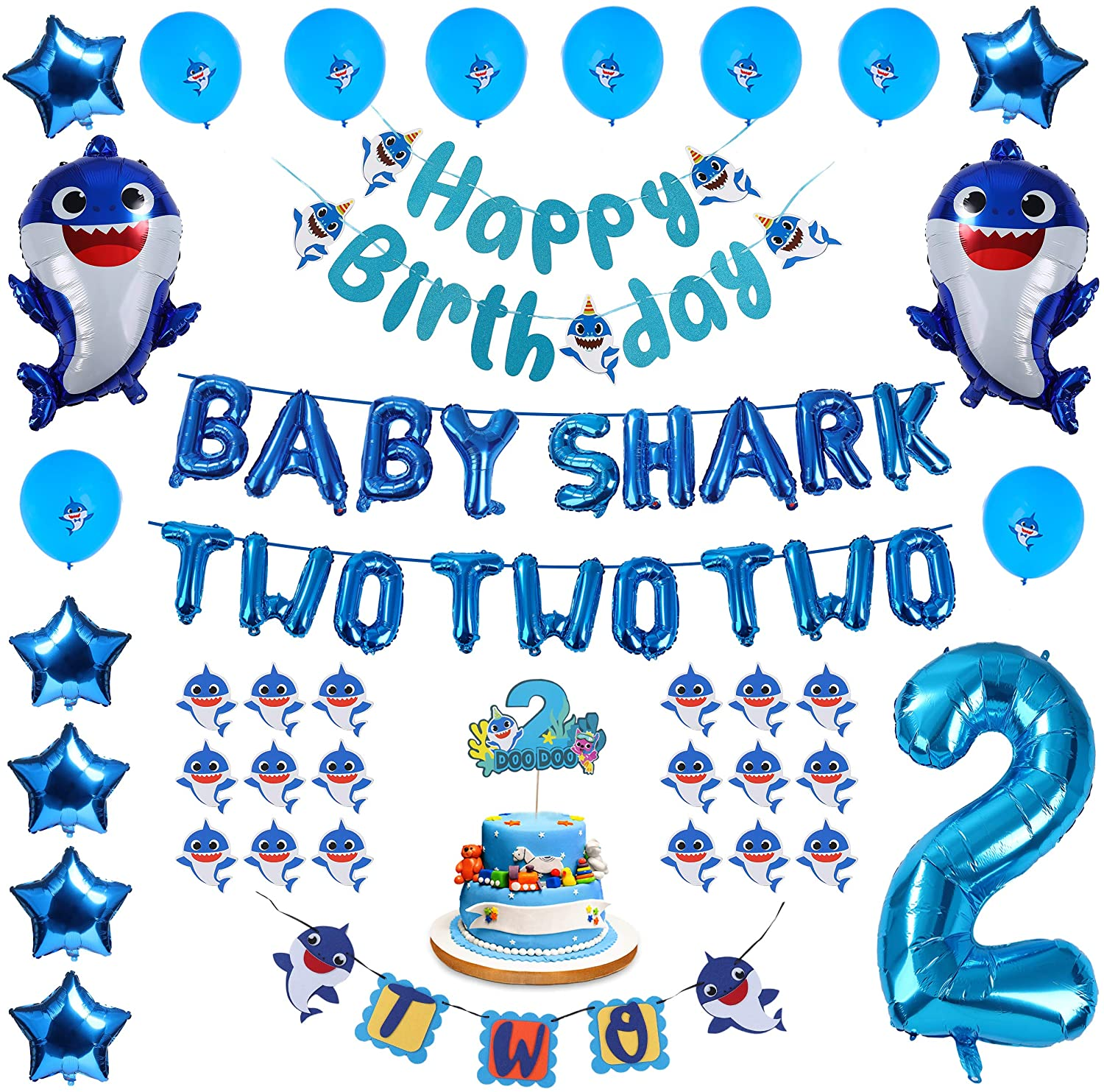 2nd Birthday Decorations Baby Shark Theme For Boy Blue Baby Shark Two And Number 2 Foil Balloons 2 Doo Cake Topper Happy Birthday And Two Banner Balloons Cupcake Toppers Walmart Com Walmart Com