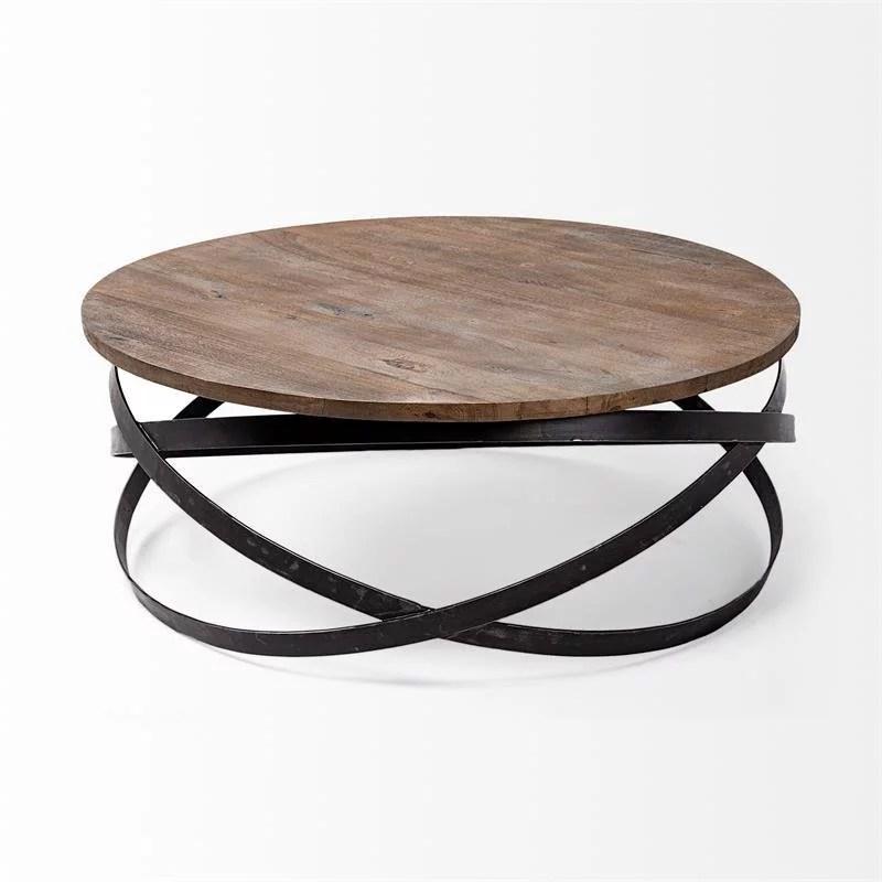merana triumph 40 5 round brown solid wood top black metal base coffee table walmart com