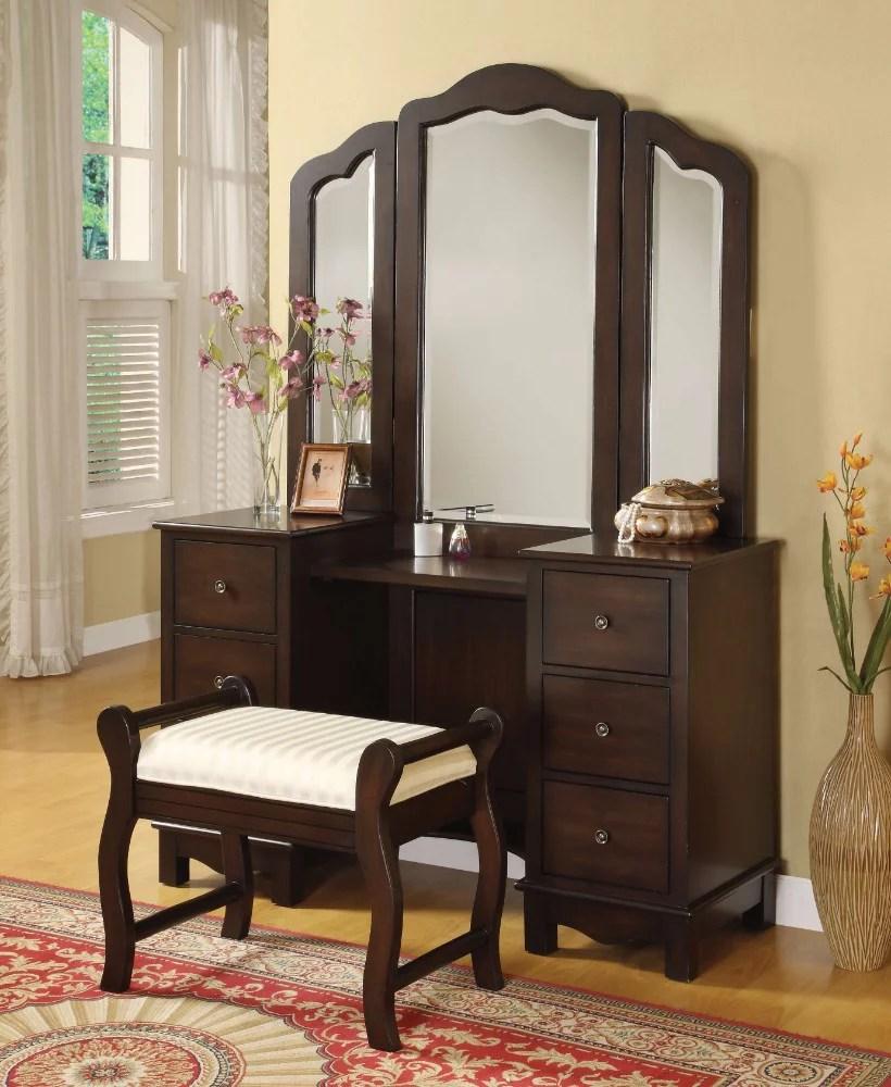 sturdy vanity desk stool brown