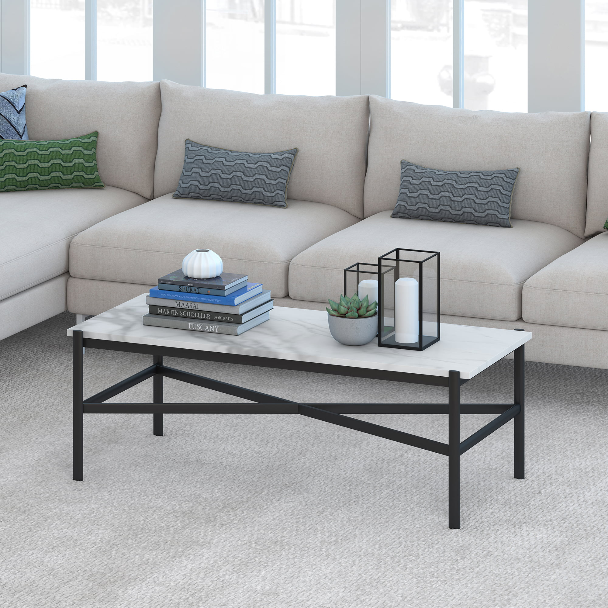 evelyn zoe contemporary metal coffee table with faux marble top walmart com