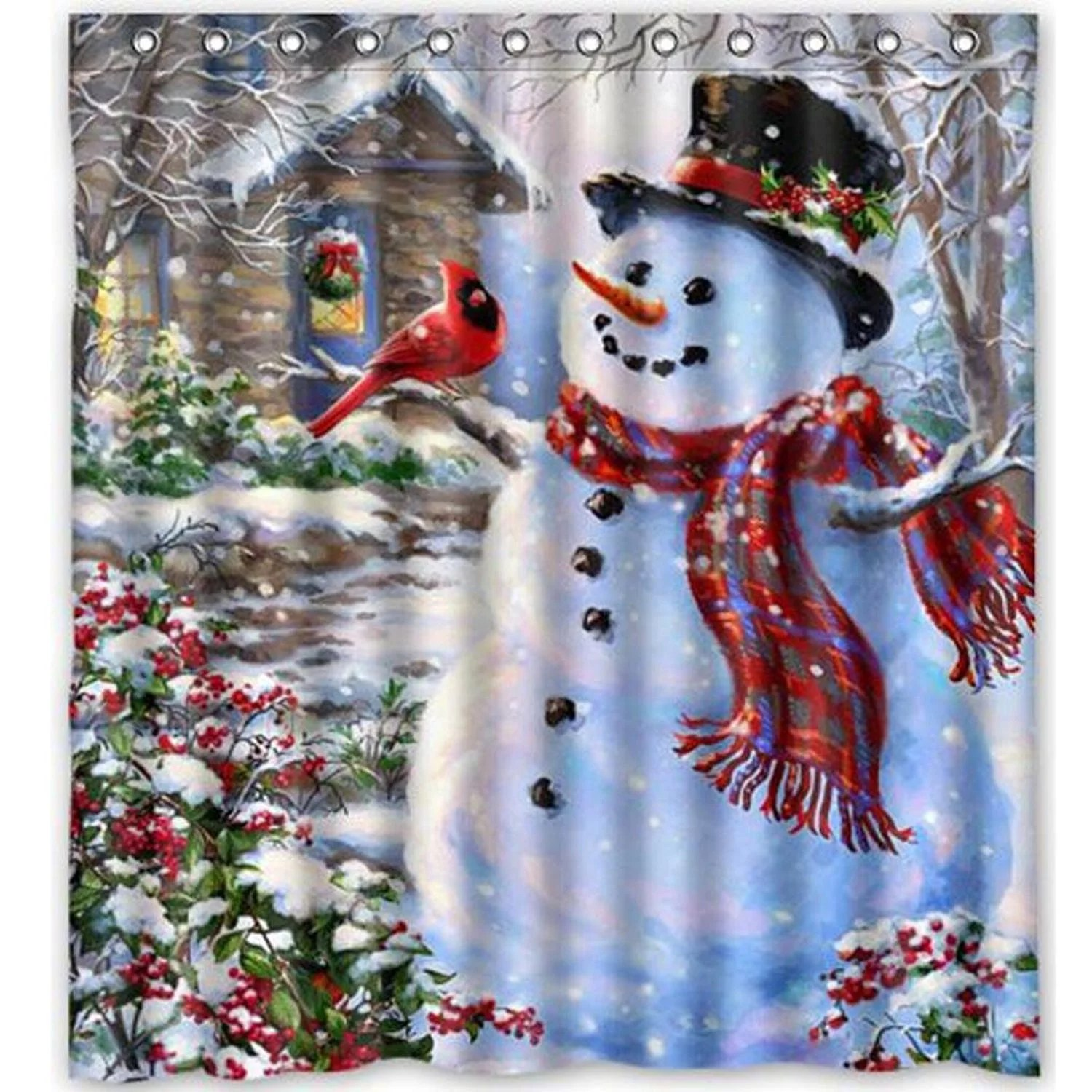 greendecor winter holiday merry christmas happy snowman and cardinals waterproof shower curtain set with hooks bathroom accessories size 66x72 inches