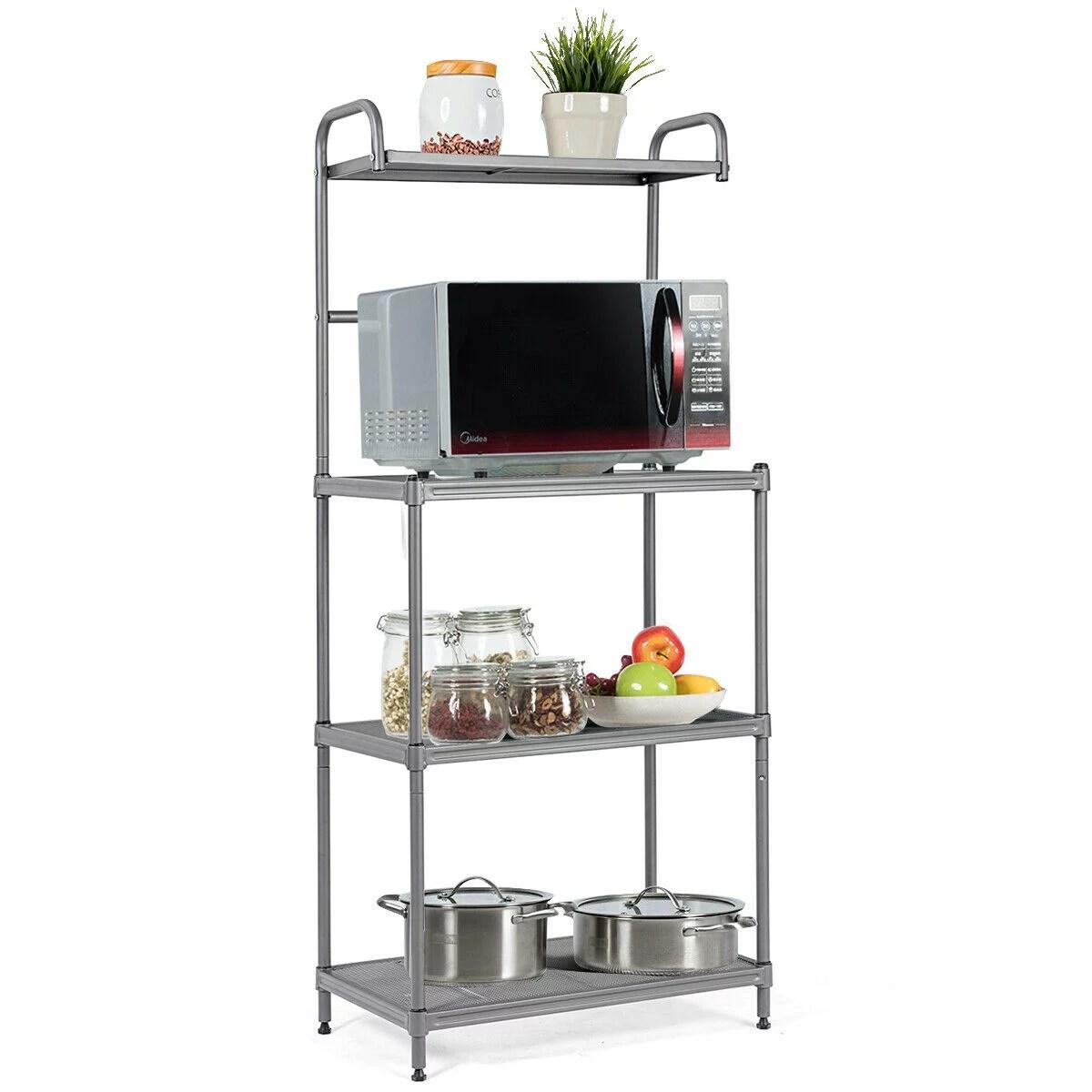 costway 4 tier baker s rack microwave oven stand shelves kitchen storage rack organizer walmart com