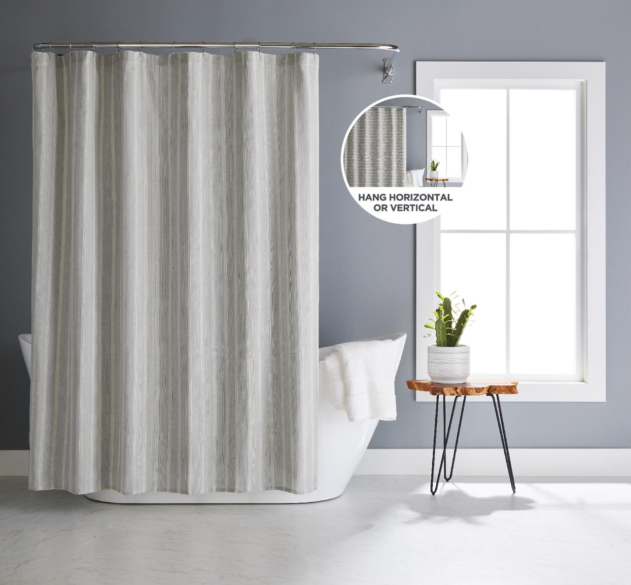 better homes gardens basketweave stripe poly cotton fabric shower curtain 72 x 72 grey walmart com