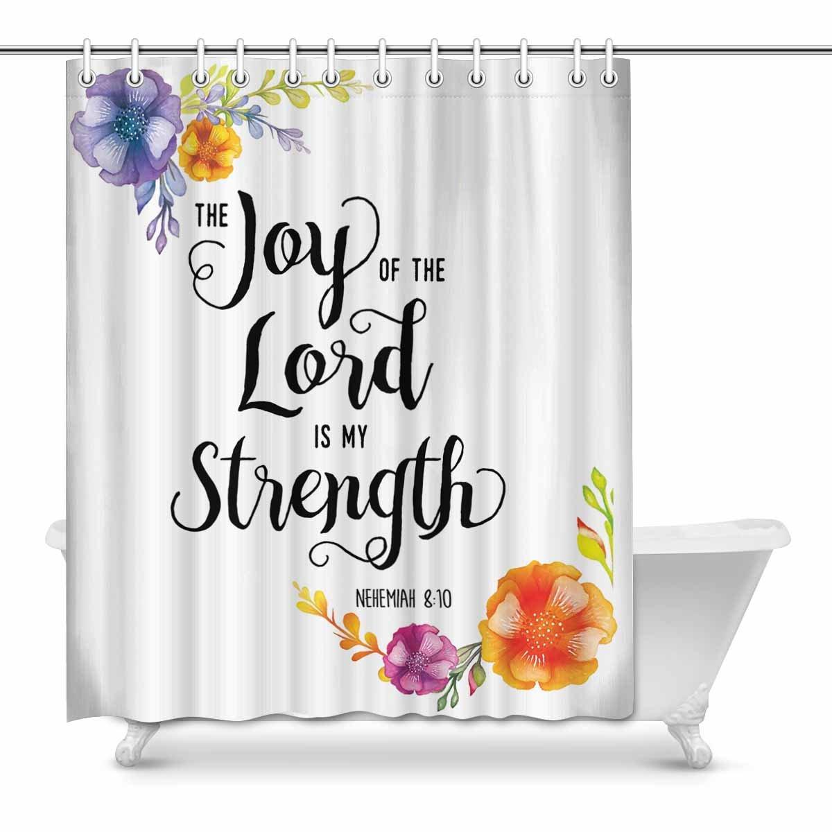 mkhert religious christian bible verse joy of the lord waterproof shower curtain decor fabric bathroom set 60x72 inch walmart com