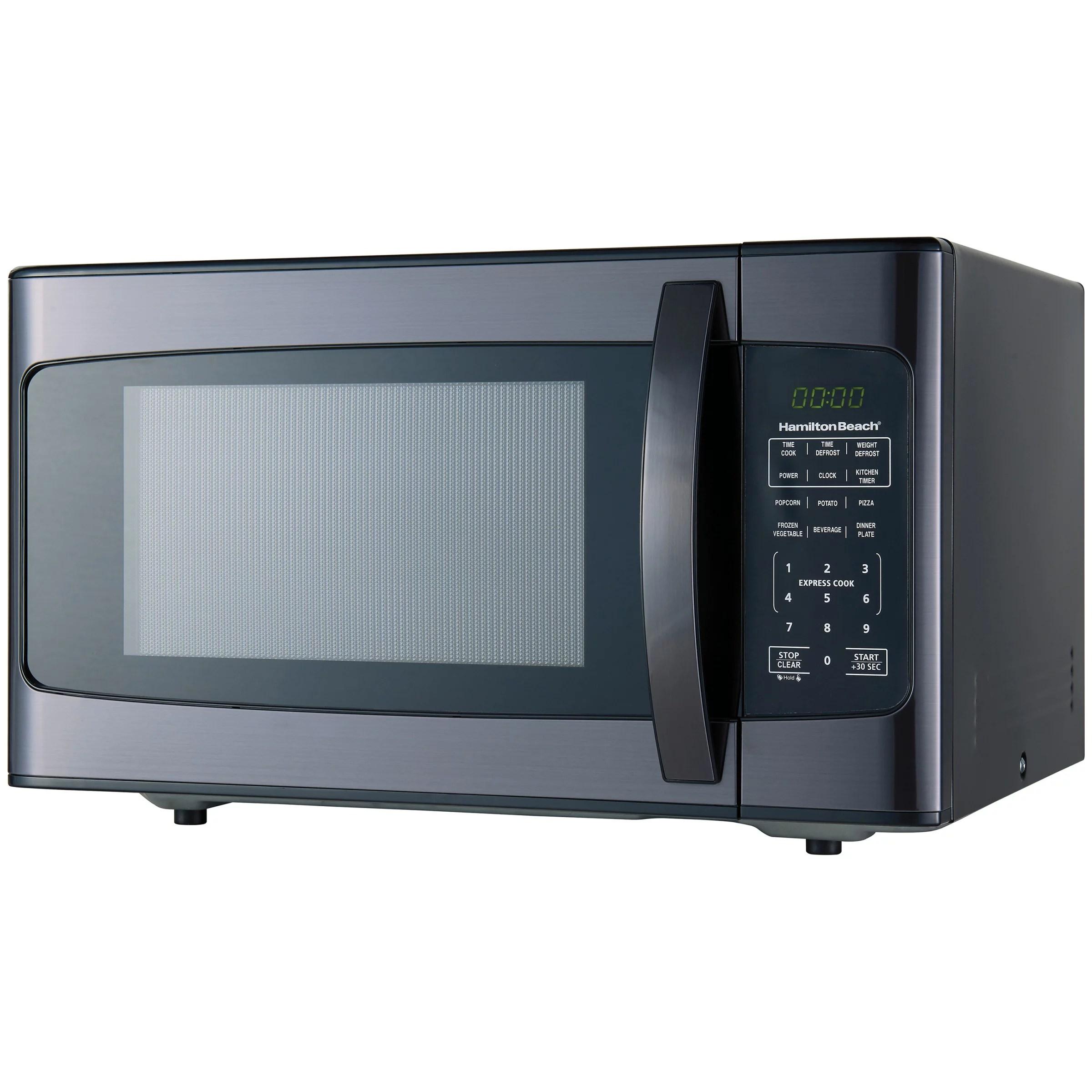 hamilton beach 1 1 cu ft 1000w black stainless steel microwave walmart com