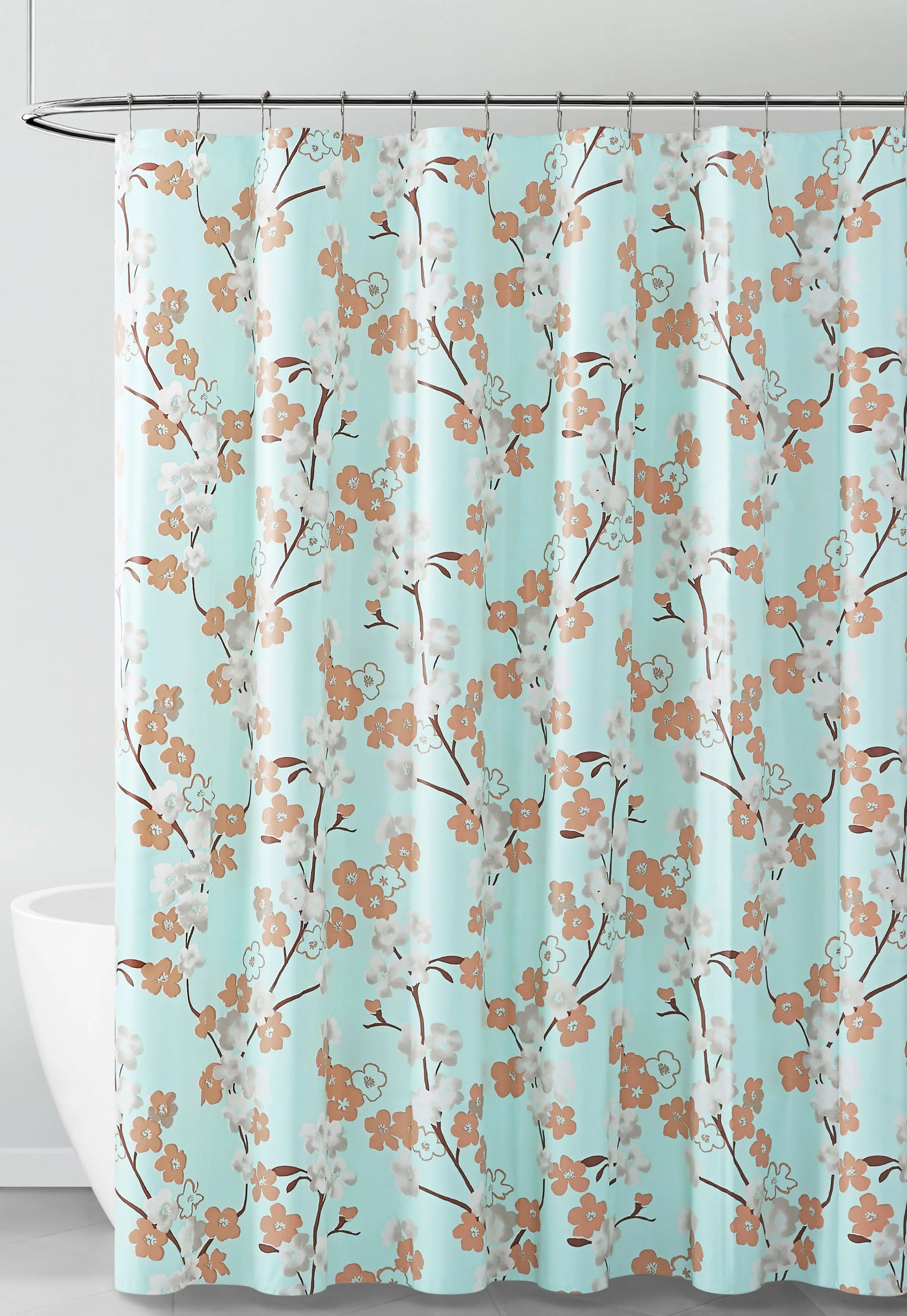 aqua white and brown floral design peva shower curtain liner odorless pvc and chlorine free biodegradable mildew free eco friendly size 72in x