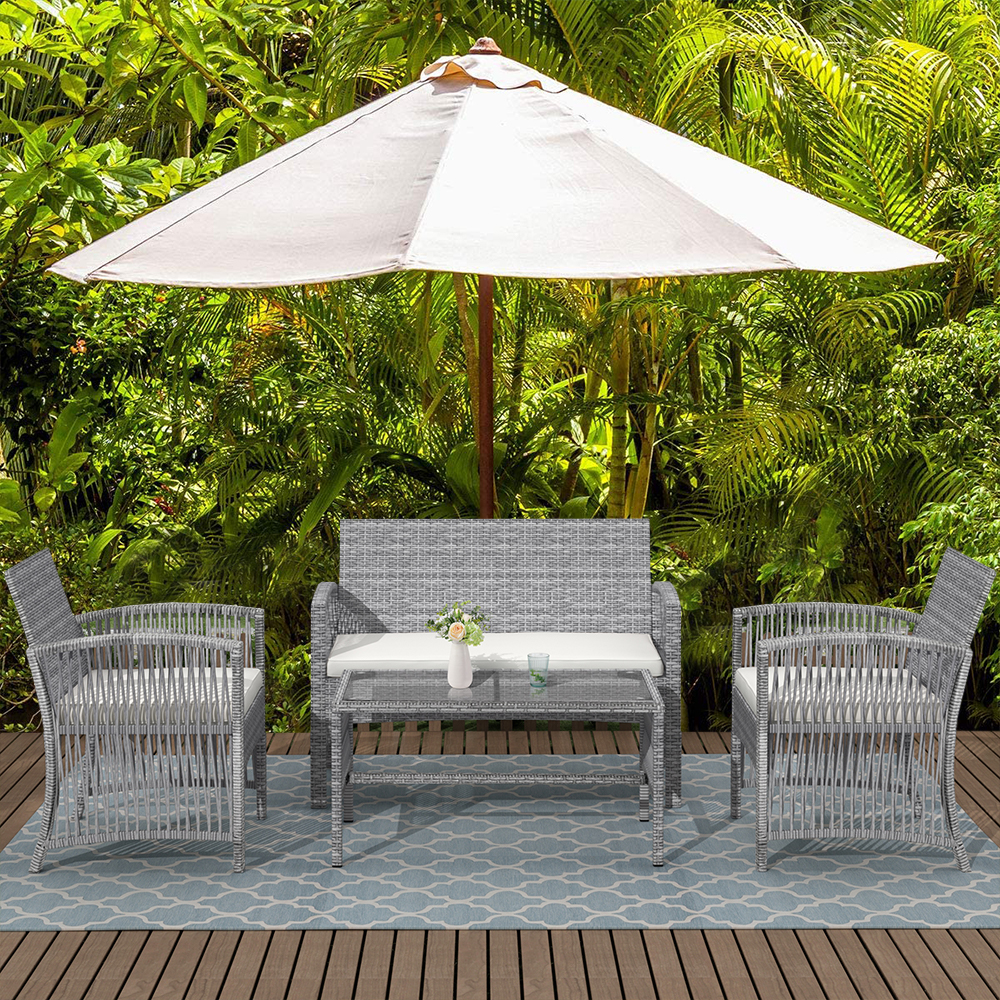 wicker chair set 2021 upgrade outdoor patio furniture set 4 piece wicker patio set with coffee table loveseat 2 cushioned chairs gray