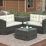 Patio Dining Sets Clearance 4 Piece Outdoor Sectional Sofa Set With Loveseat And Glass Table All Weather Outdoor Conversation Set With Beige Cushions For Backyard Porch Garden Poolside L3583 Walmart Com Walmart Com