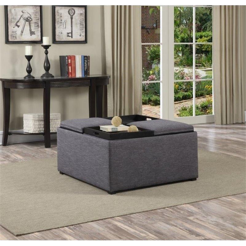 atlin designs coffee table storage ottoman in gray