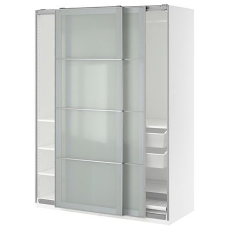 Ikea Wardrobe White Sekken Frosted Glass 383868268216