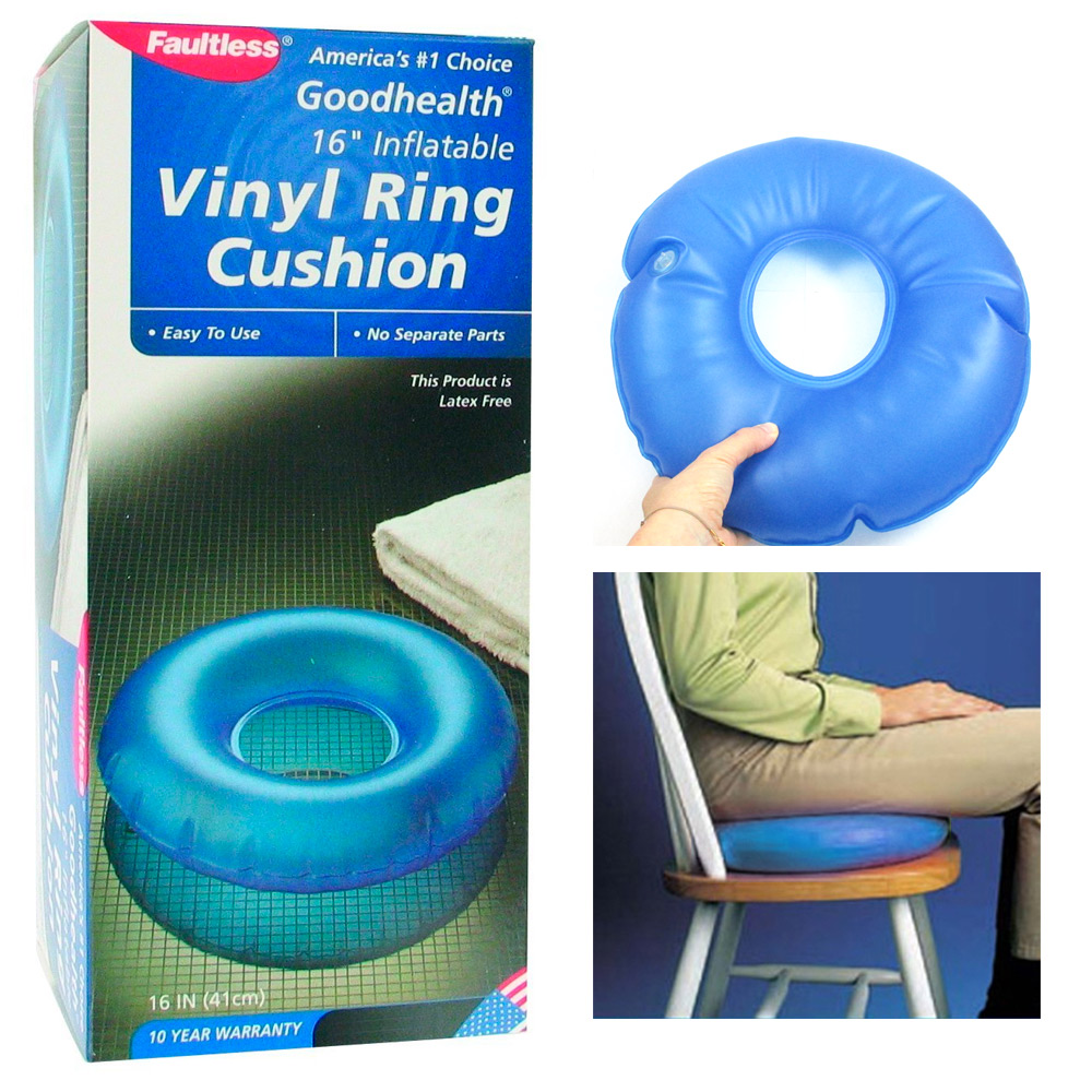 inflatable vinyl ring round cushion hemorrhoid pillow medical donut seat 16
