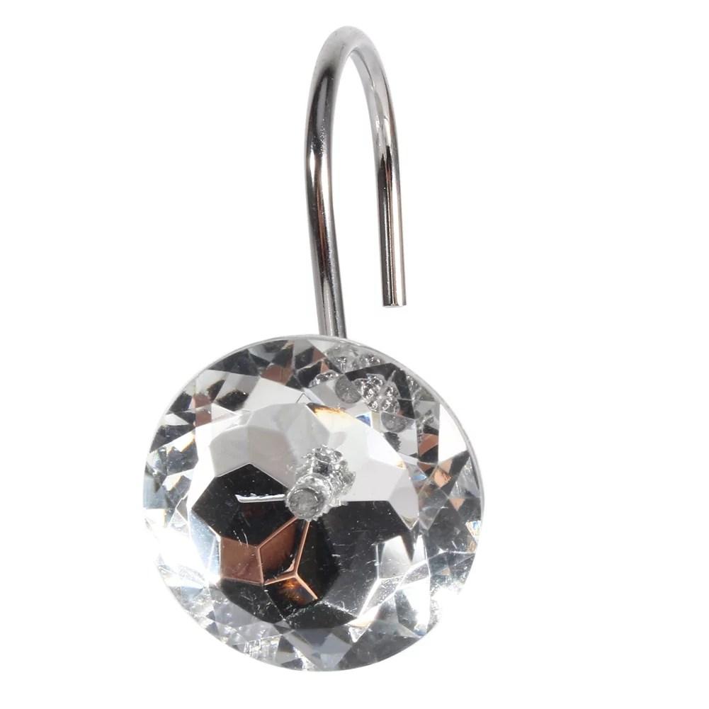 crystal shower curtain hooks 12pcs decorative rhinestone with silver metal hooks bling slide bathroom rolling decor walmart com
