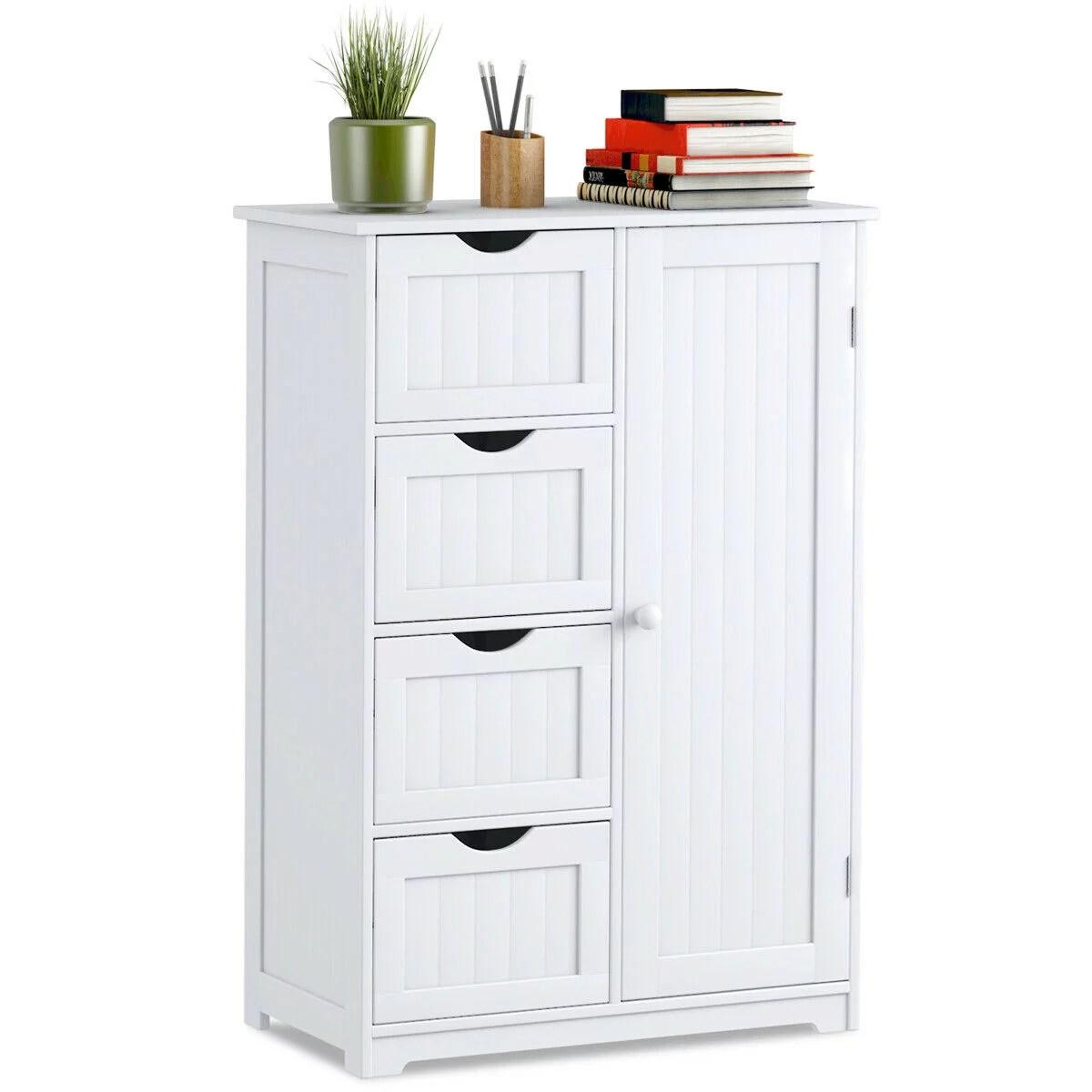 costway wooden 4 drawer bathroom cabinet storage cupboard 2 shelves free standing white