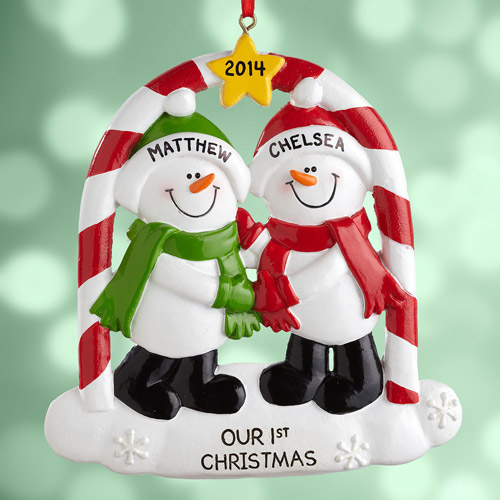 Personalized Couples First Christmas Snowman Ornament