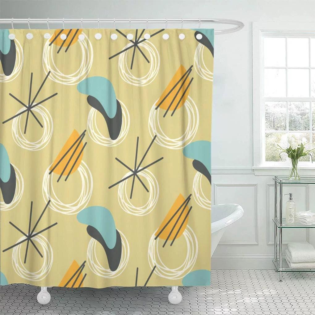 ksadk 1960s mid century modern 1950s vintage style atomic retro 50s shower curtain bathroom curtain 60x72 inch walmart com