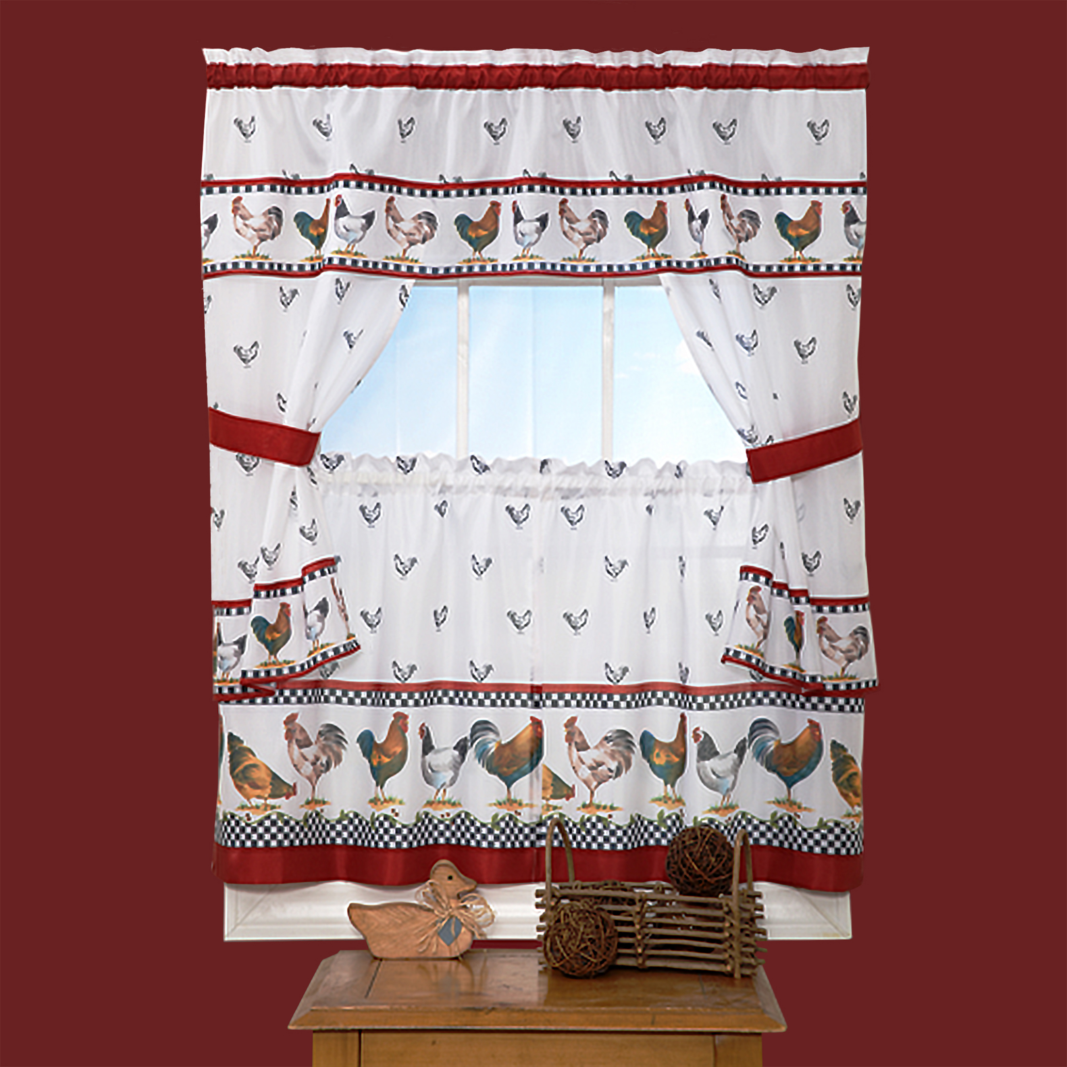 woven trends 5 piece kitchen curtain cottage set ruffled window cafe curtains with attached swaggers valance and tier panels rooster kitchen