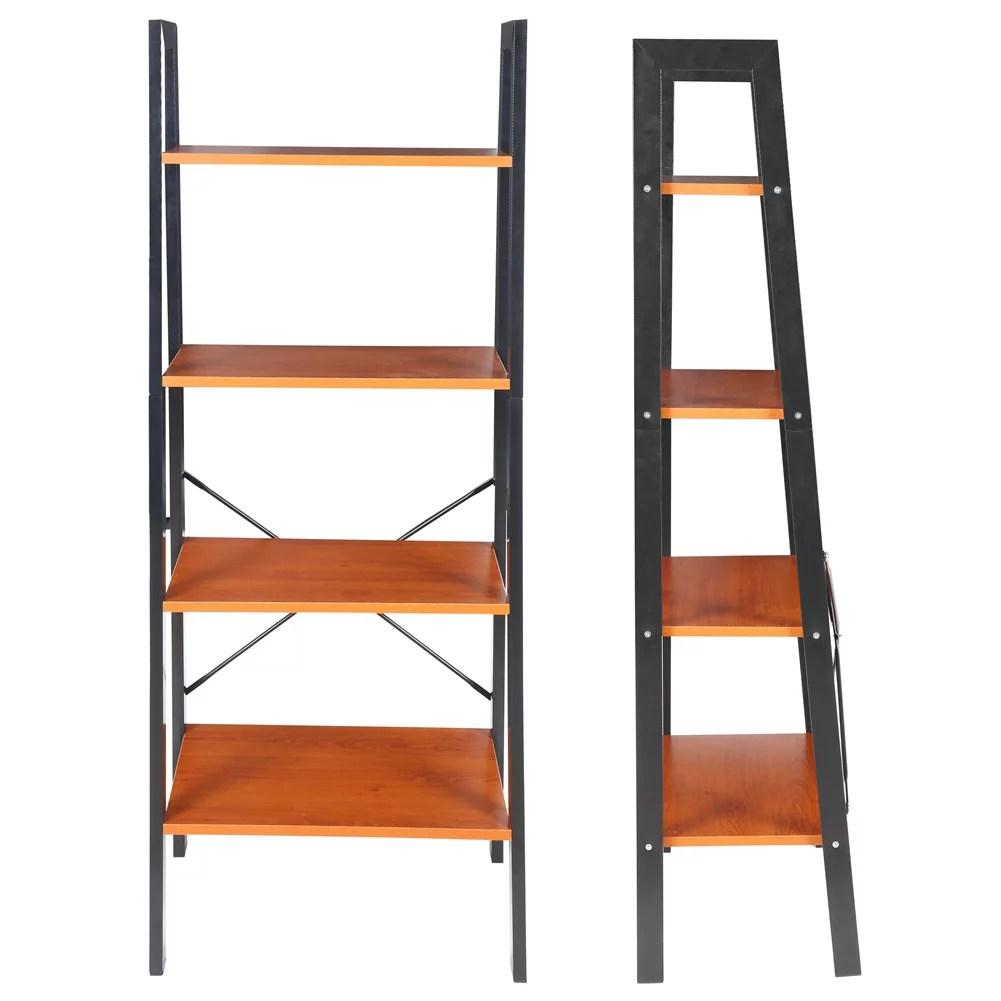 octpeak 4 tier trapezoid bookshelf ladder bookcase storage rack book stand home supplies book stand storage rack