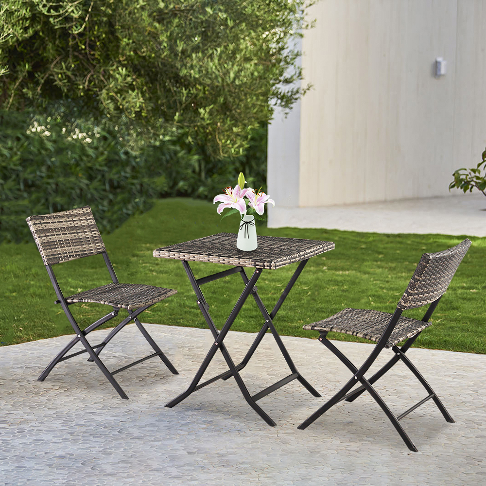 3piece folding patio bistro table set btmway rattan foldable dining table and chairs set for patio balcony outdoor bistro chairs patio conversation
