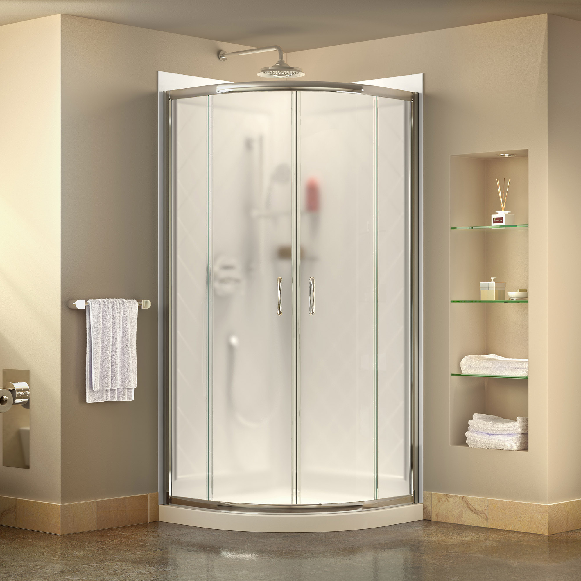 Dreamline Prime 36 In X 76 3 4 In Semi Frameless Frosted Glass Sliding Shower Enclosure In Chrome With White Base And Backwalls Walmart Com