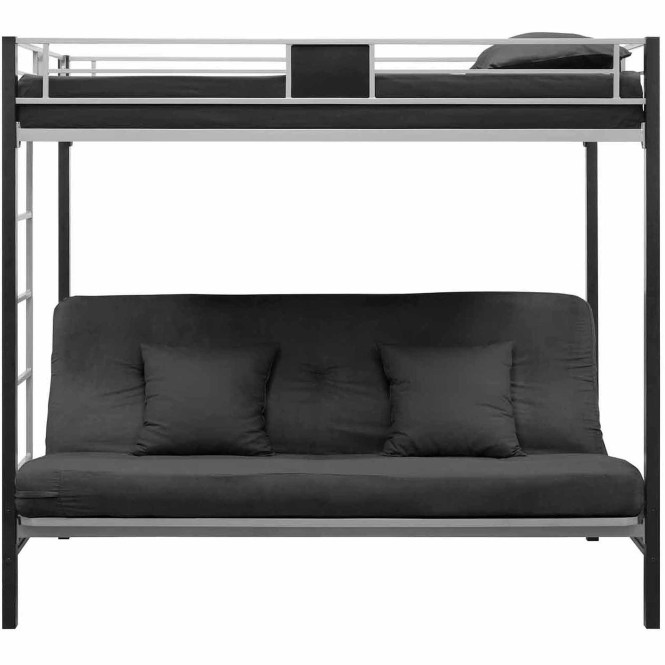 Dhp Silver Screen Twin Over Futon Metal Bunk Bed Black