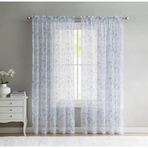 Better Homes And Gardens Embroidered Sheer Window Curtain Panel Multiple Sizes And Colors