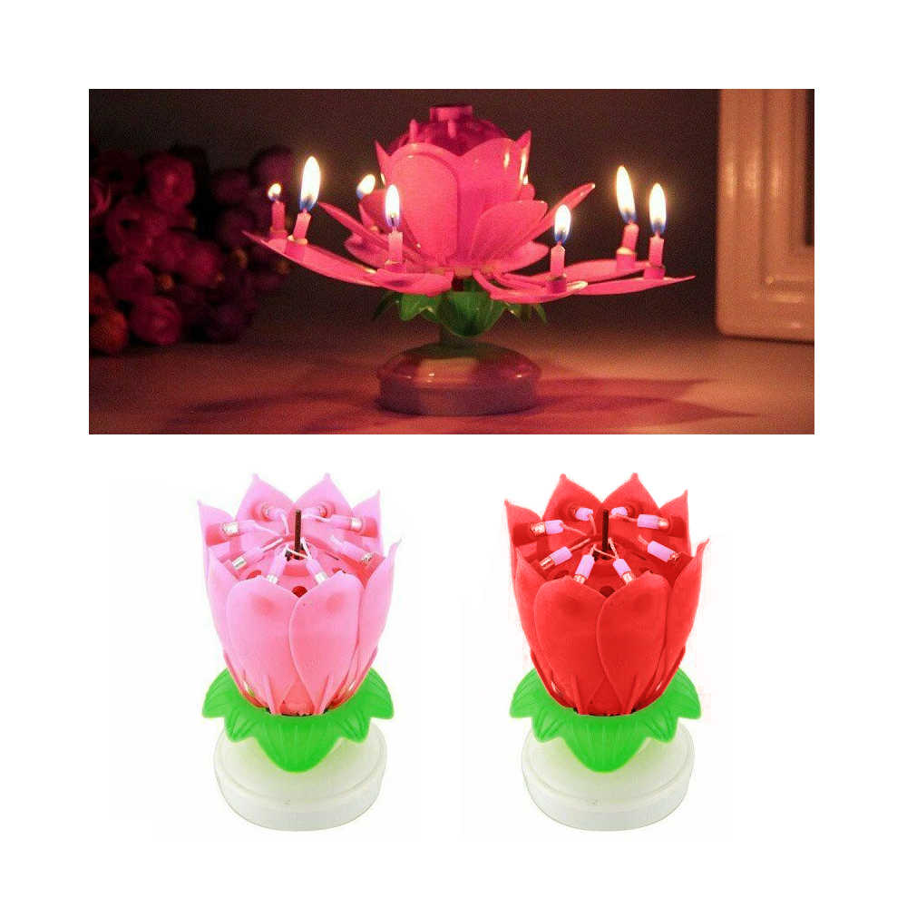 Party Supplies Lotus Pink Flower Musical Birthday Candle Rotating Spin Magic Cake Topper Party Home Garden