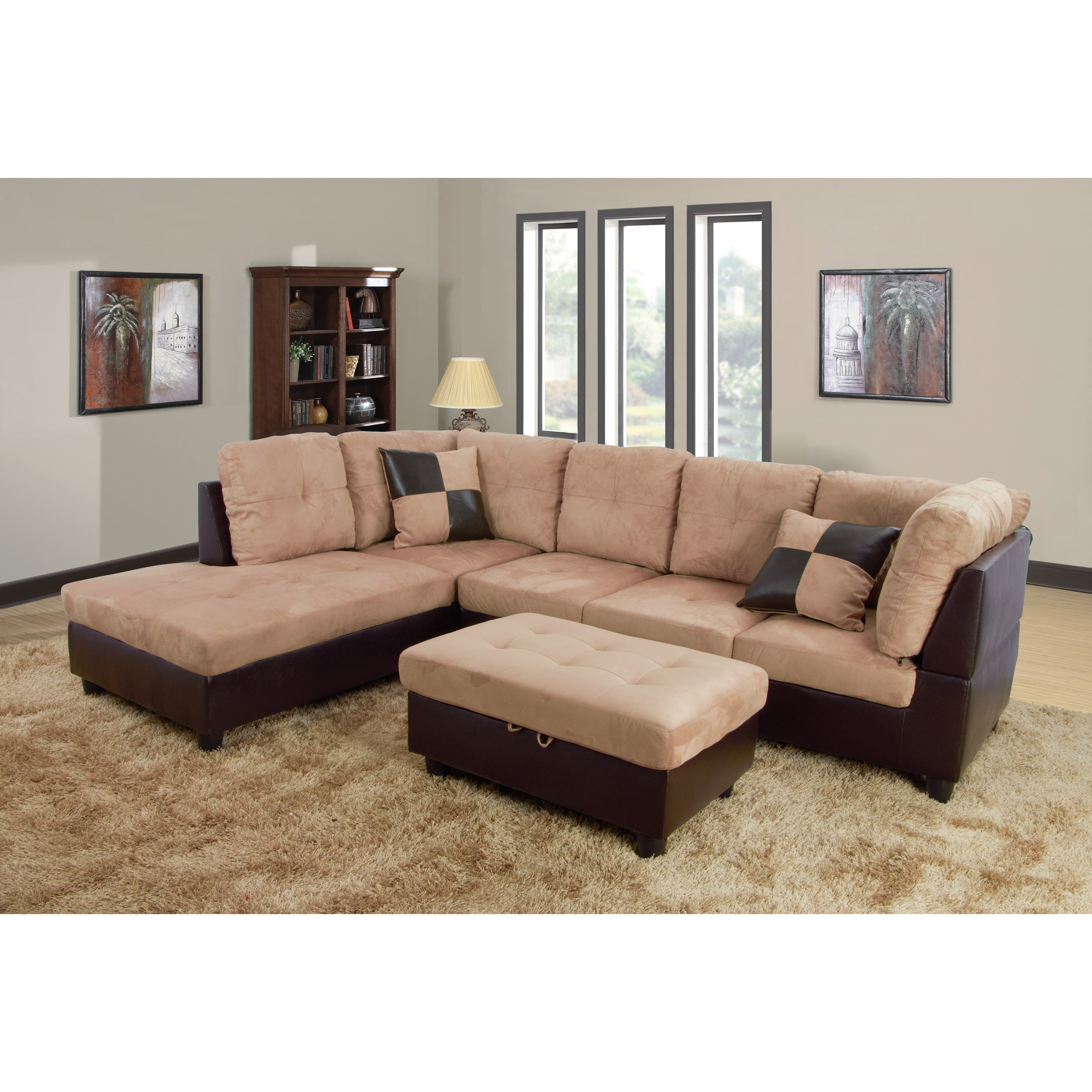 lifestyle furniture lf103a siano left hand facing sectional sofa sand 35 x 103 5 x 74 5 in