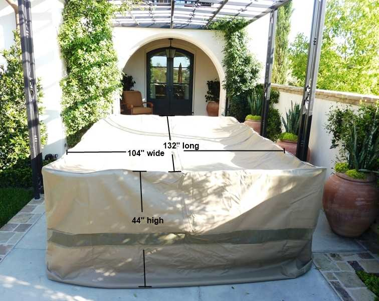 covered living patio set covers 132 lx104 w fits extra wide patio table and chair set center hole for umbrella