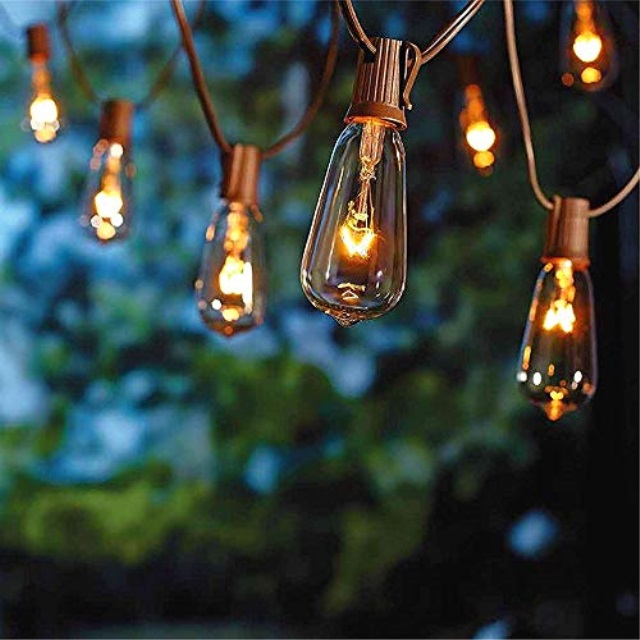 sunsgne 20ft outdoor patio string lights with 20 clear edison st40 bulbsplus 1 extra bulb ul listed c9 light string for backyar walmart com