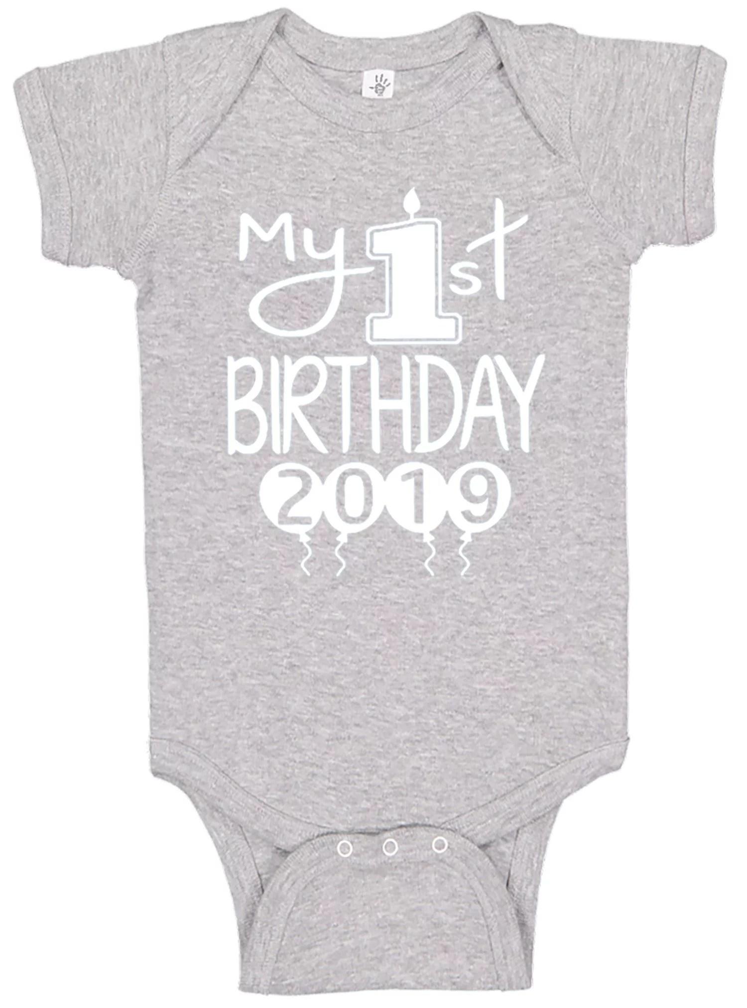 Aiden S Corner Handmade Screen Pressed Baby First Birthday Bodysuits Boys My 1st Birthday Outfit Walmart Com Walmart Com